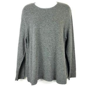 J Jill Ribbed Knit Sweater Gray stripe accent LP
